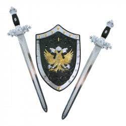 Sada rytierska s mečmi a štítom