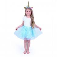 Dětský kostým modrá tutu sukně s čelenkou jednorožec