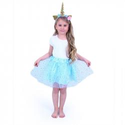 Detský kostým modrá tutu sukne s čelenkou jednorožec