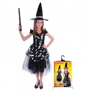 Karnevalový kostým čarodějnice/halloween netopýrka, vel. M