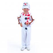 Dětský kostým sněhulák s čepicí a červenou šálou (M)