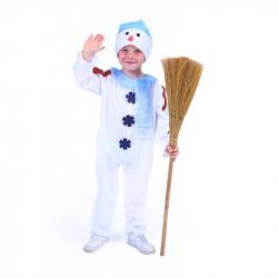 Detský kostým snehuliak s čiapkou a modrou šálom (S)