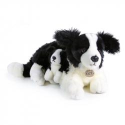 Plyšový pes border kolie s mládětem, 45 cm