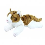 Plyšová kočka, hnědo-bílá, ležící, 30 cm