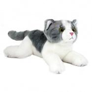 Plyšová kočka šedo-bílá, ležící, 32 cm