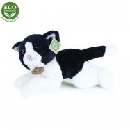 plyšová kočka bílo-černá ležící, 30 cm, ECO-FRIENDLY