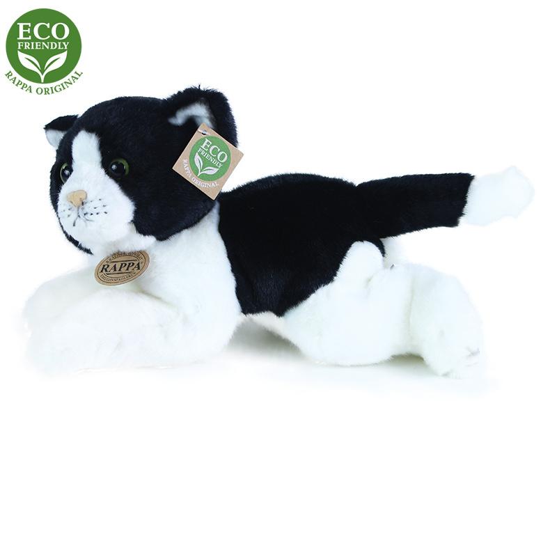 plyšová mačka bielo-čierna ležiace, 30 cm, ECO-FRIENDLY