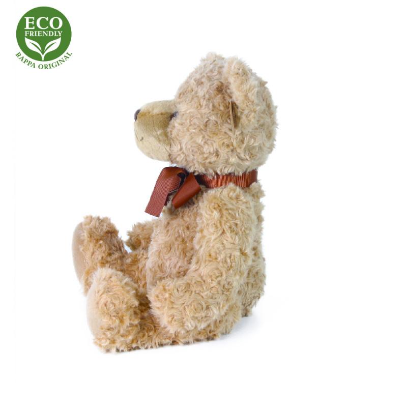 Plyšový medveď retro s mašľou sediaci, 30 cm, ECO-FRIENDLY