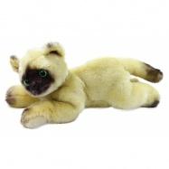 Plyšová kočka ležící béžová, 30 cm