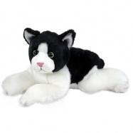 Plyšová kočka černo-bílá, ležící, 28 cm