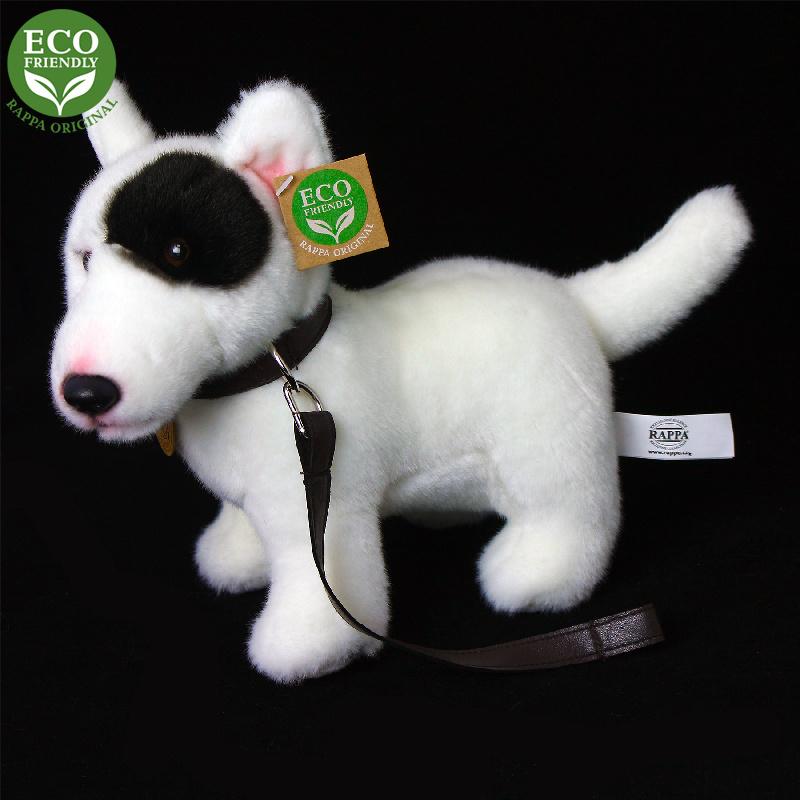 Plyšový pes anglický bulteriér s vodítkom stojace, 23 cm, ECO-FRIENDLY