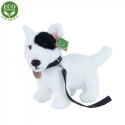 Plyšový pes anglický bulteriér s vodítkem stojící, 23 cm, ECO-FRIENDLY