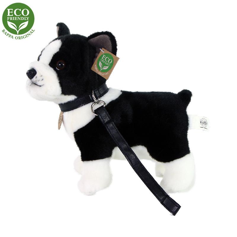 Plyšový pes francúzsky buldoček s vodítkom stojace, 23 cm, ECO-FRIENDLY