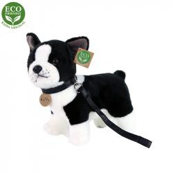 Pluszowy Pies Buldog Francuski ze smyczą stojącą, 23 cm, EKOLOGICZNY