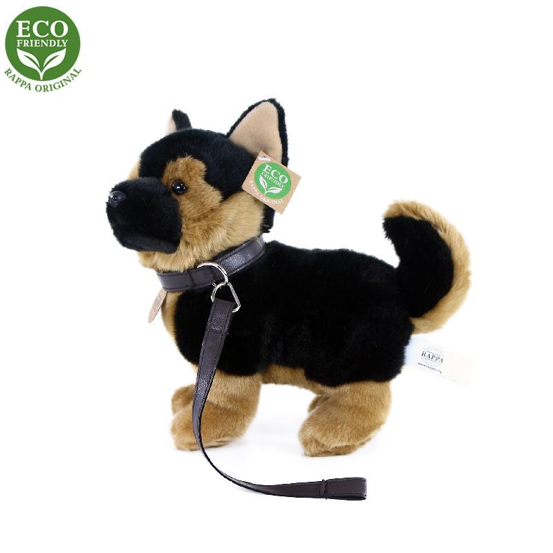 Plyšový pes nemecký ovčiak s vodítkom stojace, 23 cm, ECO-FRIENDLY