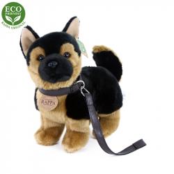 Plyšový pes německý ovčák s vodítkem  stojící, 23 cm, ECO-FRIENDLY