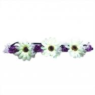 čelenka květina bílá, 3 větší květy