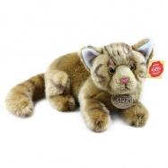 Plyšová kočka hnědá, ležící, 26 cm