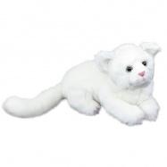 Plyšová kočka bílá, ležící, 26 cm