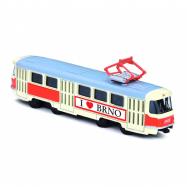 Kovová česká retro tramvaj, 16 cm BRNO