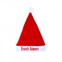 Čepice vánoční s nápisem Veselé Vánoce