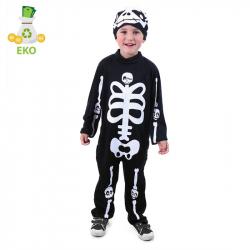 Detský kostým kostlivec s čiapkou (M) EKO