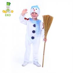 Detský kostým snehuliak s čiapkou a červenou šálom (S) EKO