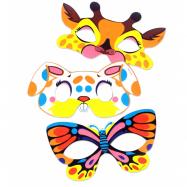 Maska papierová zvieratká, 6 ks v sáčku