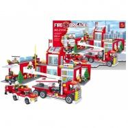 stavebnice AUSINI hasiči mega hasičská stanice, 915 dílů