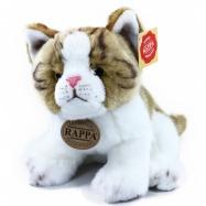 Plyšová kočka hnědo-bílá, sedící, 18 cm