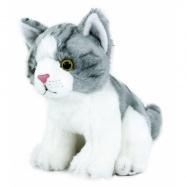 Plyšová kočka šedo-bílá, sedící, 18 cm