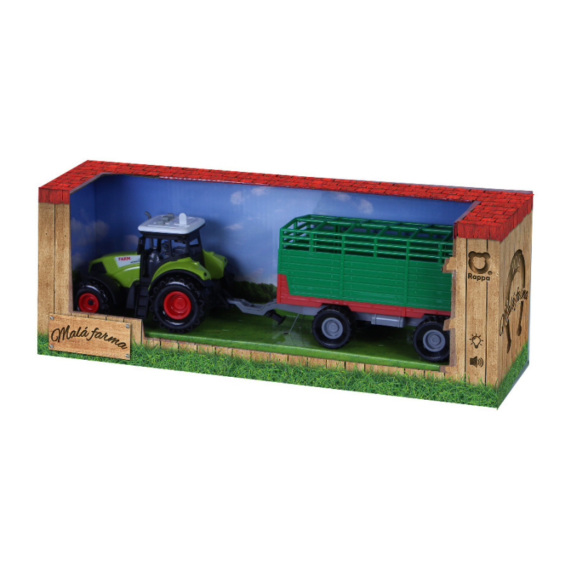 Traktor plastový so zvukom a svetlom s vlečkou na seno