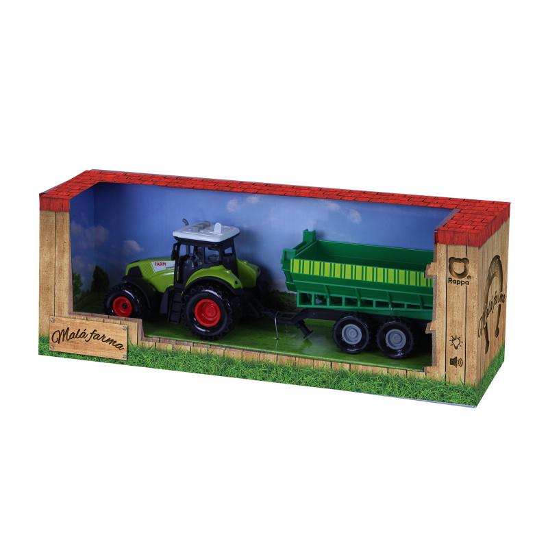 Traktor plastový so zvukom a svetlom s vlečkou