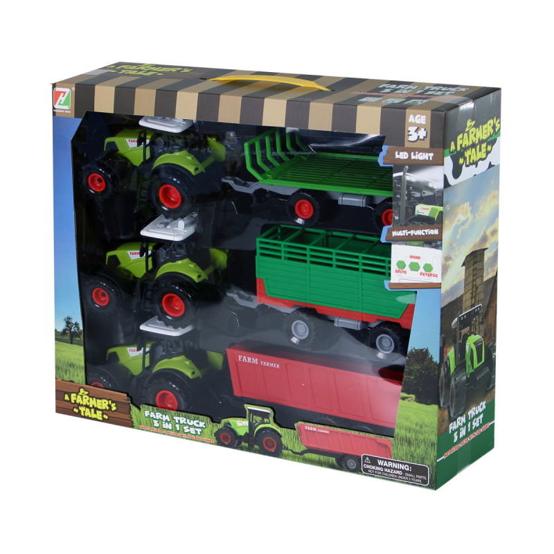 Sada traktor so svetlom a zvukom sa 3 vlečkami