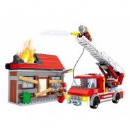 stavebnice AUSINI hasiči s hořícím domem 355 dílů