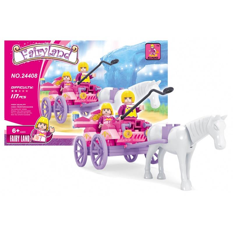 Stavebnice AUSINI pohádková - kočár s koněm, 117 dílů