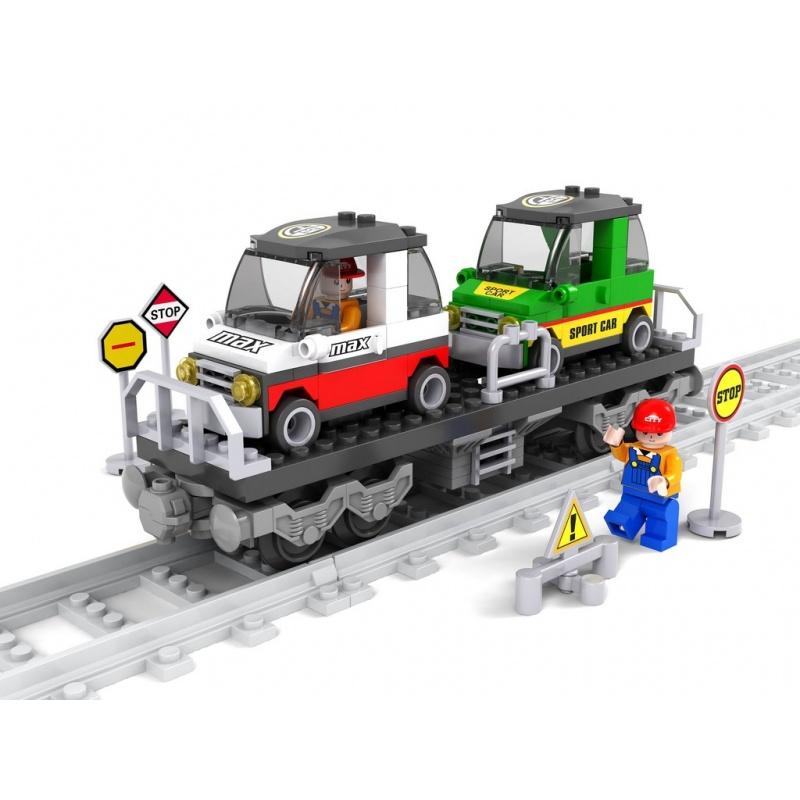 stavebnice AUSINI vagon s auty 186 dílů