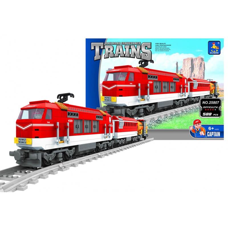 Stavebnice AUSINI vlak červený, 588 dílů
