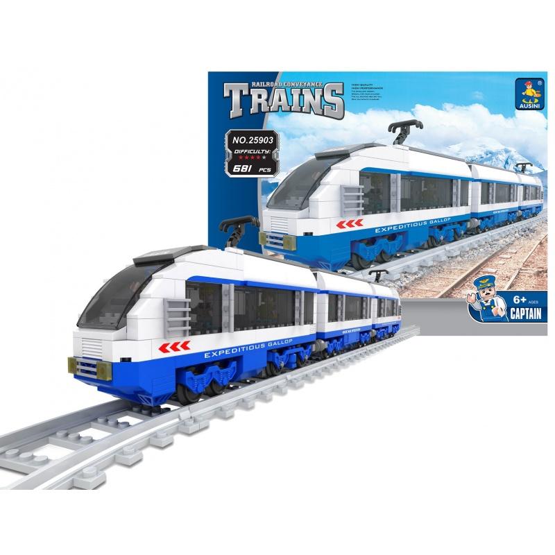 Stavebnice AUSINI vlak rychlovlak, 681 dílů