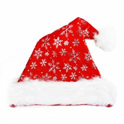 čiapky vianočné, strieborné vločky