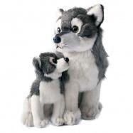 Plyšový vlk s mládětem sedící, 27cm