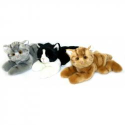 plyšová kočka ležící, 3 druhy, 16 cm