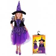 Karnevalový kostým čarodejnice / halloween fialová s rukávmi