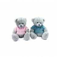 Plyšový medvěd sedící v oblečku, 20 cm