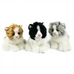 plyšová kočka sedící, 3 druhy, 17 cm