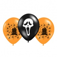 balónek nafukovací s potiskem Halloween 3 ks v sáčku, 2 barvy