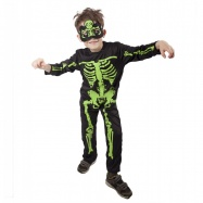 karnevalový kostým kostlivec NEON dětský, vel. M