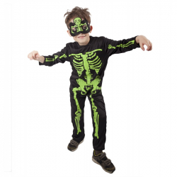 karnevalový kostým kostlivec NEON detský, veľ. M
