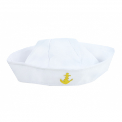 čiapka námorník biela s kotvou, detská