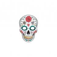 maska papírová, lebka s ornamenty, bílá